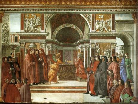L'annonce de la naissance de Jean-Baptiste à Zacharie,  Domenico Ghirlandaio, 1490, Eglise Santa Maria Novella, Chapelle Tornabuoni, Florence